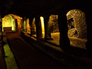 ancient underground tufa church in Sutri