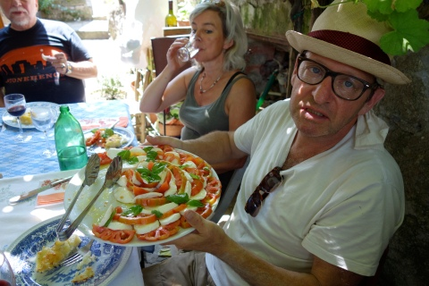 Doug sampling the Caprese at Candido's home in Montegegatesi
