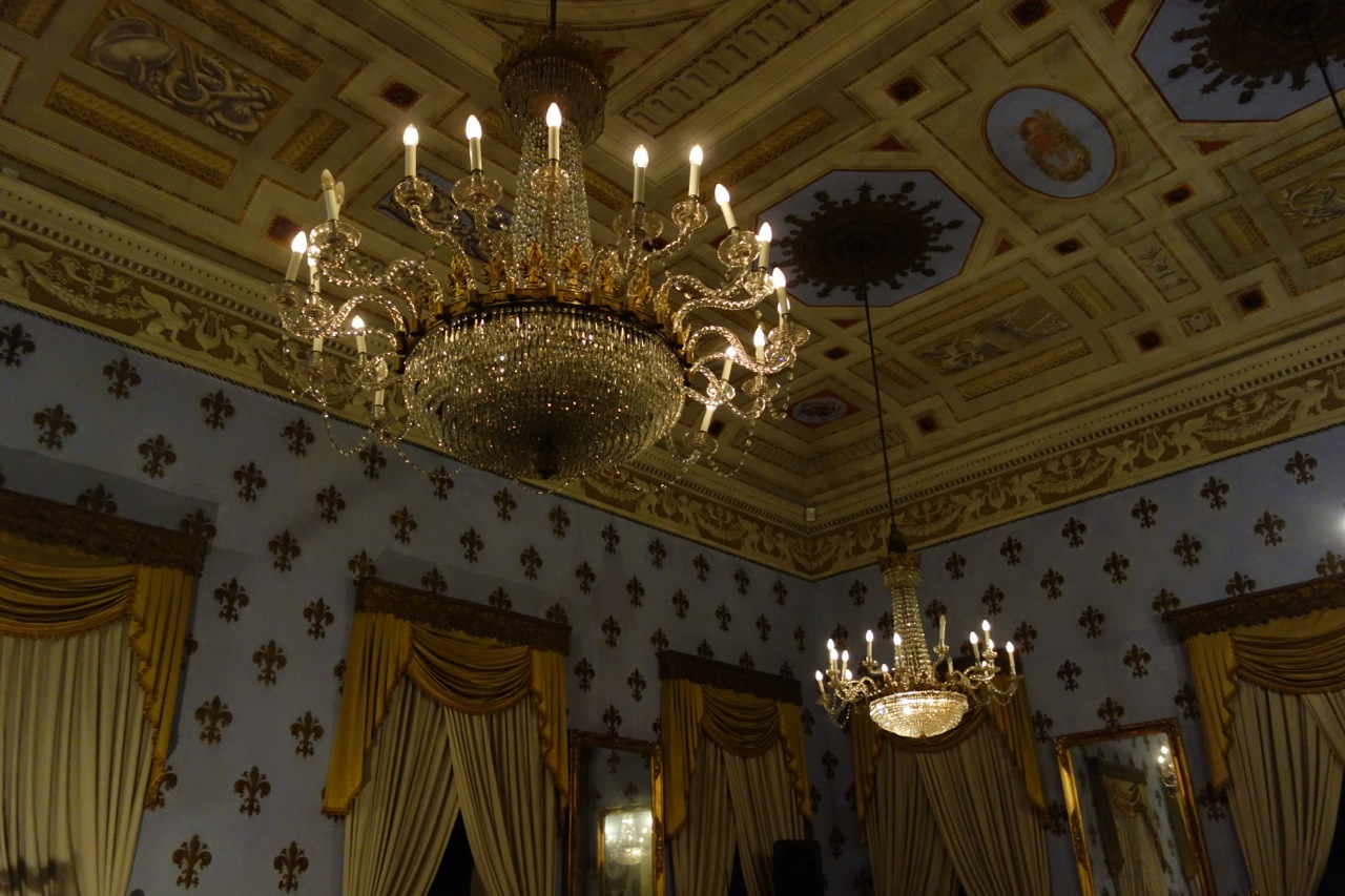 Chandeliers in old casino, Bagni di Lucca