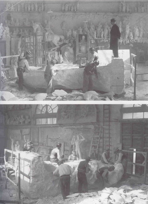 old photo of the the artigiani working on the artists sculptures